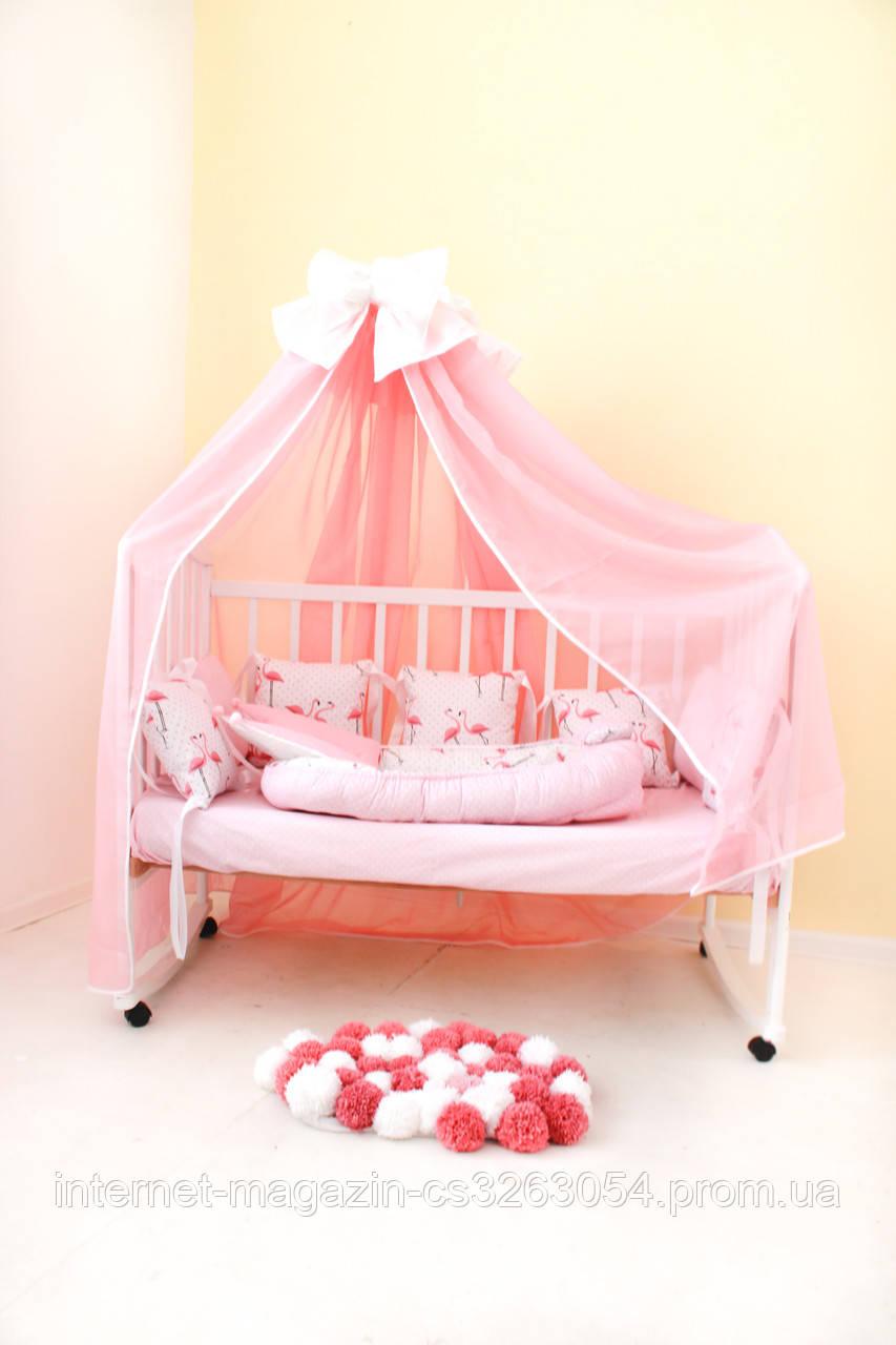 """Детские бортики в кроватку """"Фламинго""""розовые бортики,бампер защита,горошек белый"""