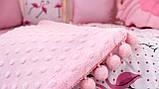 """Детские бортики в кроватку """"Фламинго""""розовые бортики,бампер защита,горошек белый, фото 2"""