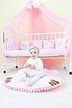 """Детские бортики в кроватку """"Фламинго""""розовые бортики,бампер защита,горошек белый, фото 3"""