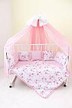 """Детские бортики в кроватку """"Фламинго""""розовые бортики,бампер защита,горошек белый, фото 5"""