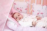 """Детские бортики в кроватку """"Фламинго""""розовые бортики,бампер защита,горошек белый, фото 7"""