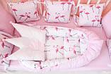 """Детские бортики в кроватку """"Фламинго""""розовые бортики,бампер защита,горошек белый, фото 9"""