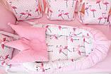 """Детские бортики в кроватку """"Фламинго""""розовые бортики,бампер защита,горошек белый, фото 10"""