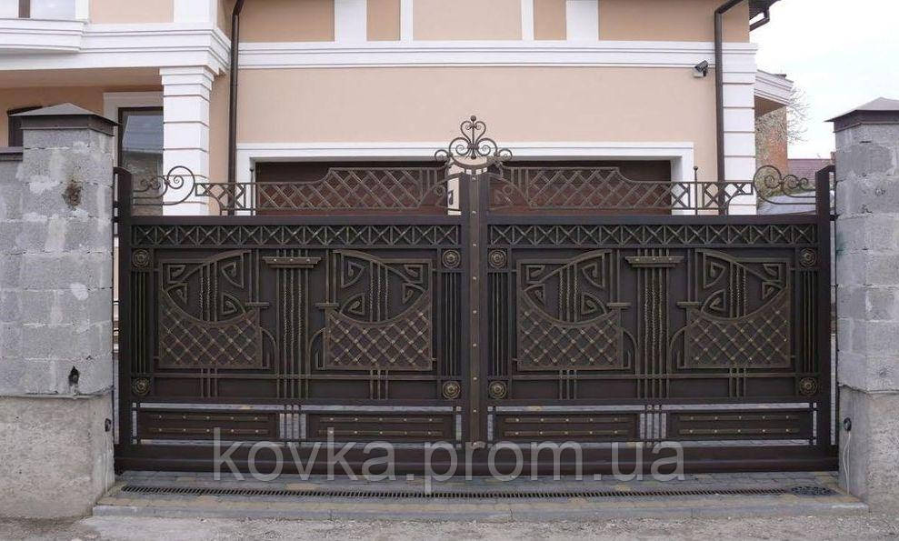 Кованые откатные ворота с калиткой, код: 01122