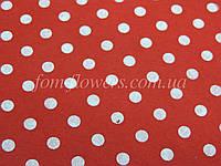 Фетр китайский с рисинком 1.2 мм, 20x30 см, Красный в горошек