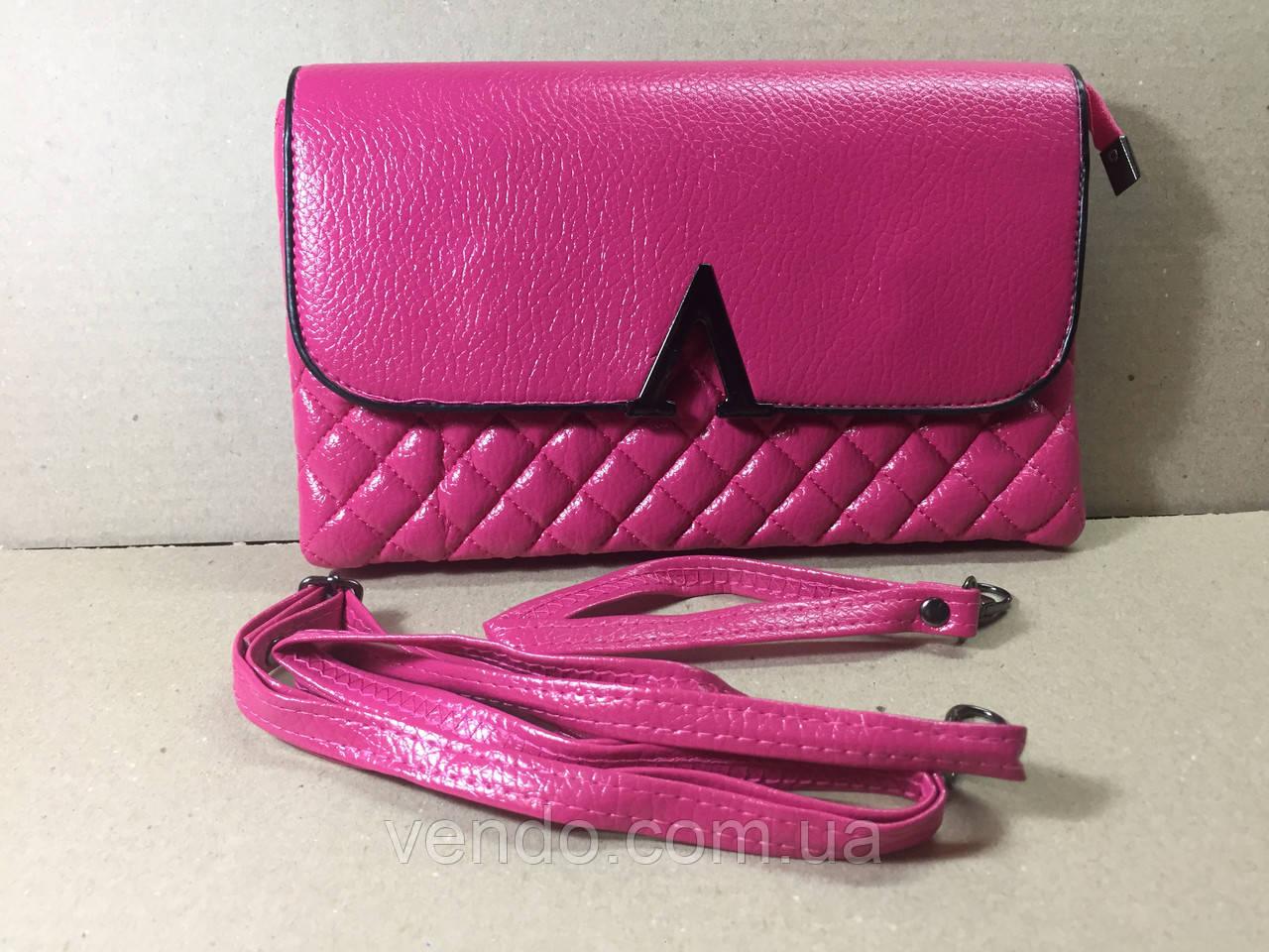 Сумочка-клатч женский стеганый 24х15х4 см / Розовый
