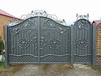 Кованые распашные ворота с калиткой, код: 01124