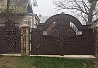 Кованые распашные ворота с калиткой, код: 01125