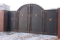 Кованые распашные ворота с калиткой, код: 01126