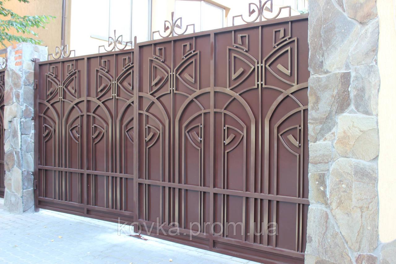 Кованые распашные ворота с калиткой, код: 01127