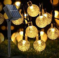 Уличная гирлянда на солнечной батарее Хрустальные шарики 11м. 60 led теплый белый 8 режимов.