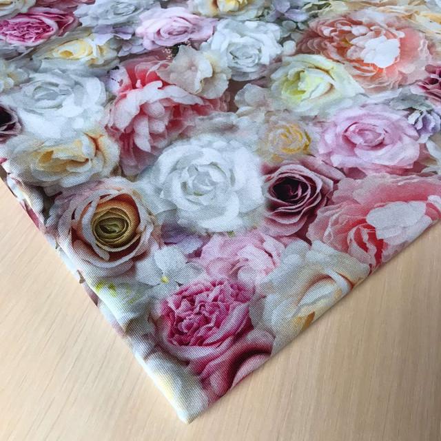 купить ткань футер розы в нашем магазине