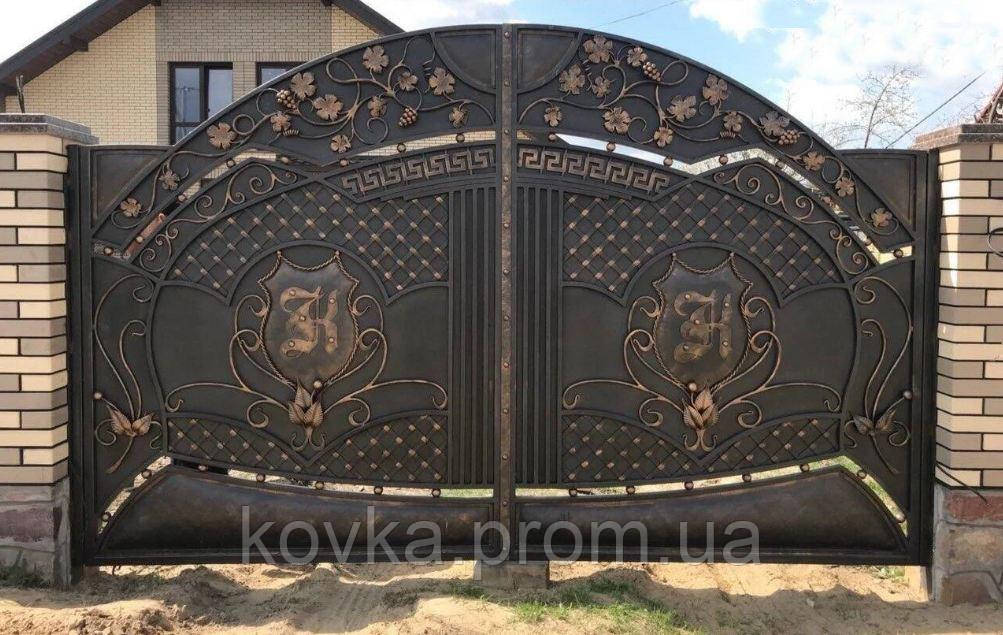 Кованые распашные ворота, код: 01135