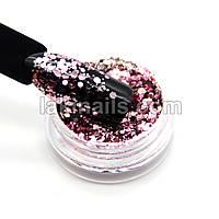Брокат для дизайна ногтей (P-MIX01), розовый