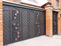 Кованые откатные ворота с калиткой, код: 01137