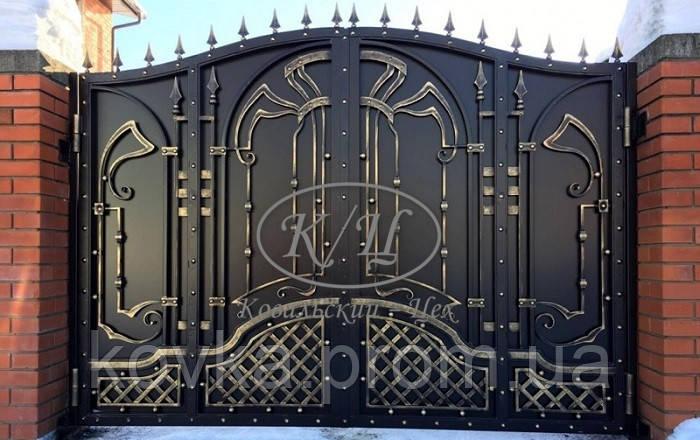 Кованые распашные ворота, код: 01140