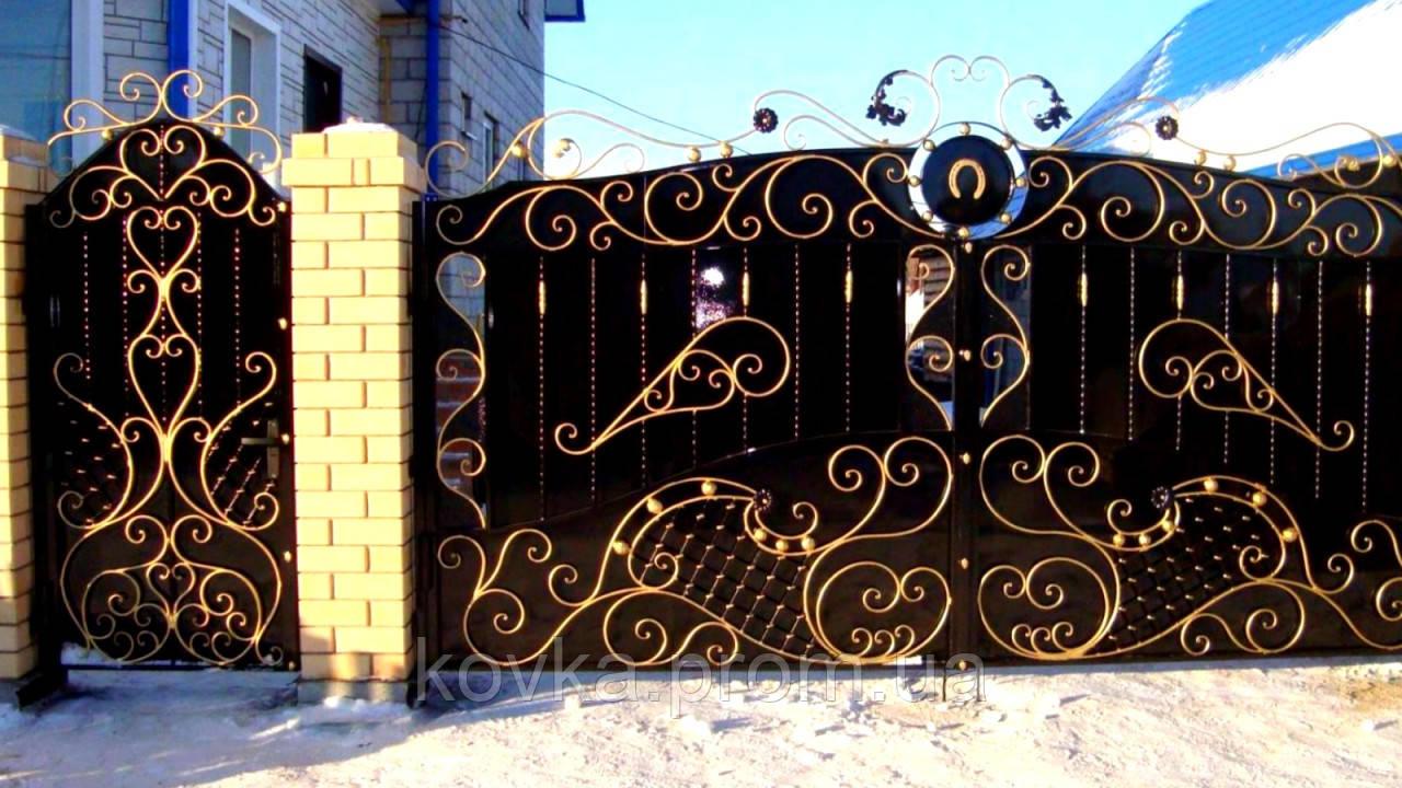 Кованые распашные ворота с калиткой, код: 01142