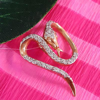 Золотая Змея кулон - Женский золотой кулон Змея