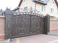 Кованые откатные ворота, код: 01147
