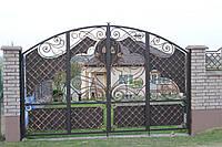 Кованые распашные ворота, код: 01148