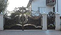Кованые распашные ворота с калиткой, код: 01149