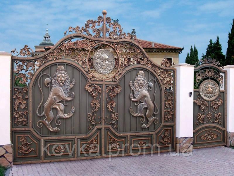 Кованые эксклюзивные ворота с калиткой, код: 01150
