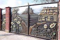 Кованые эксклюзивные ворота с калиткой, код: 01152