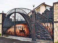 Кованые эксклюзивные ворота с калиткой, код: 01153