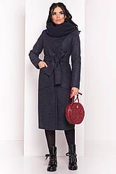 Пальто женское зимнее без меха, шарф-хомут в комплекте Габриэлла 4151 | S-Lр.