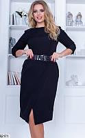Платье черного цвета. Прозрачный пояс и юбка с запахом