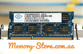 Оперативная память для ноутбука Nanya DDR3 4GB PC3-12800S 1600MHz 1.5V SODIMM (б/у)