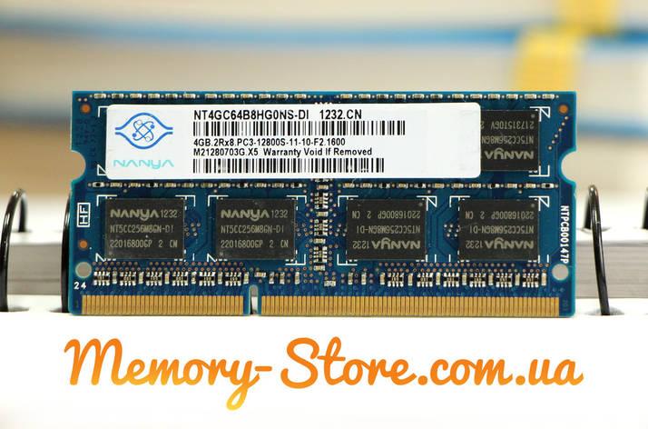 Оперативная память для ноутбука Nanya DDR3 4GB PC3-12800S 1600MHz 1.5V SODIMM (б/у), фото 2