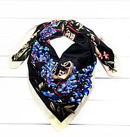 Шелковый платок Люччиа, 90*90 см, графит/молоко