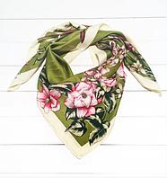Шелковый платок Люччиа 90*90 см оливковый, фото 1