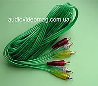 Кабель 3 RCA на 3 RCA (тюльпан), длина 5 метров, силиконовый, зеленый