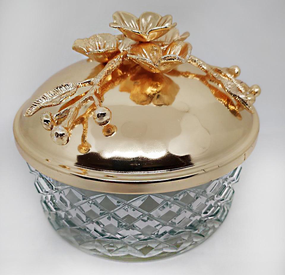 Декоративная конфетница с крышкой и цветами MCA Vizyon из мельхиора с позолотой диаметр 15 см