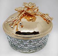Декоративная конфетница с крышкой и цветами MCA Vizyon из мельхиора с позолотой диаметр 15 см, фото 1