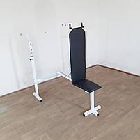Лавка регульована для жиму зі стійками та штанга з гантелями 85 кг, фото 5