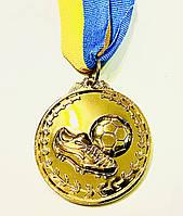 """Медаль """"Футбол"""" диаметр 5 см. Золото с ленточкой, фото 1"""