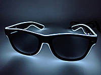 🔝 Светящиеся неоновые светодиодные LED очки, клубные, Белые, для дискотеки и вечеринки, с доставкой | 🎁%🚚