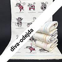Банное полотенце из качественной махры и льна .Размер:1,4 x 0,7