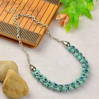 Ожерелье из Синтетической Бирюзы, и Металлическими бусинами со Стразами, Цвет: Бирюзовый, Размер: Длина около 480мм, Бусины 11~14x8~18мм,