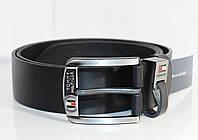 Мужской кожаный ремень в стиле Tommy Hilfiger (под джинсы),116см.Черный.Турция.