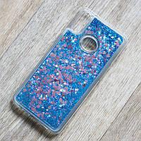 Чехол аквариум для Samsung Galaxy A10S (SM-A107) (синие блестки)