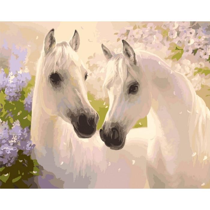 Картина по номерам Пара лошадей 40*50   Идейка КНО2433