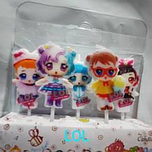 """Детские свечи на торт """" Куклы Лол """" набор свечей 5 шт."""