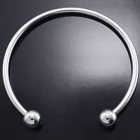 Основа для браслета Пандора, в виде Кольца, Латунь, Цвет: Платина, Размер: Внутр. Диаметр 58мм, Толщина 3мм, между свободными концами 22мм,