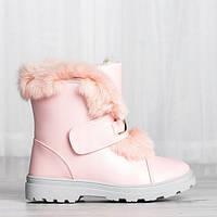 Розовые женские ботинки с мехом