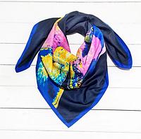 Шелковый платок Картье, 90*90 см, синий