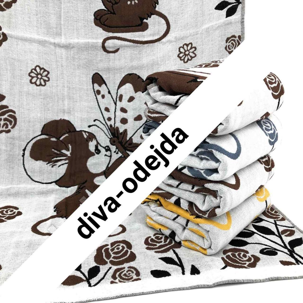 Банное полотенце на льняной основе с мышками .Размер:1,4 x 0,7